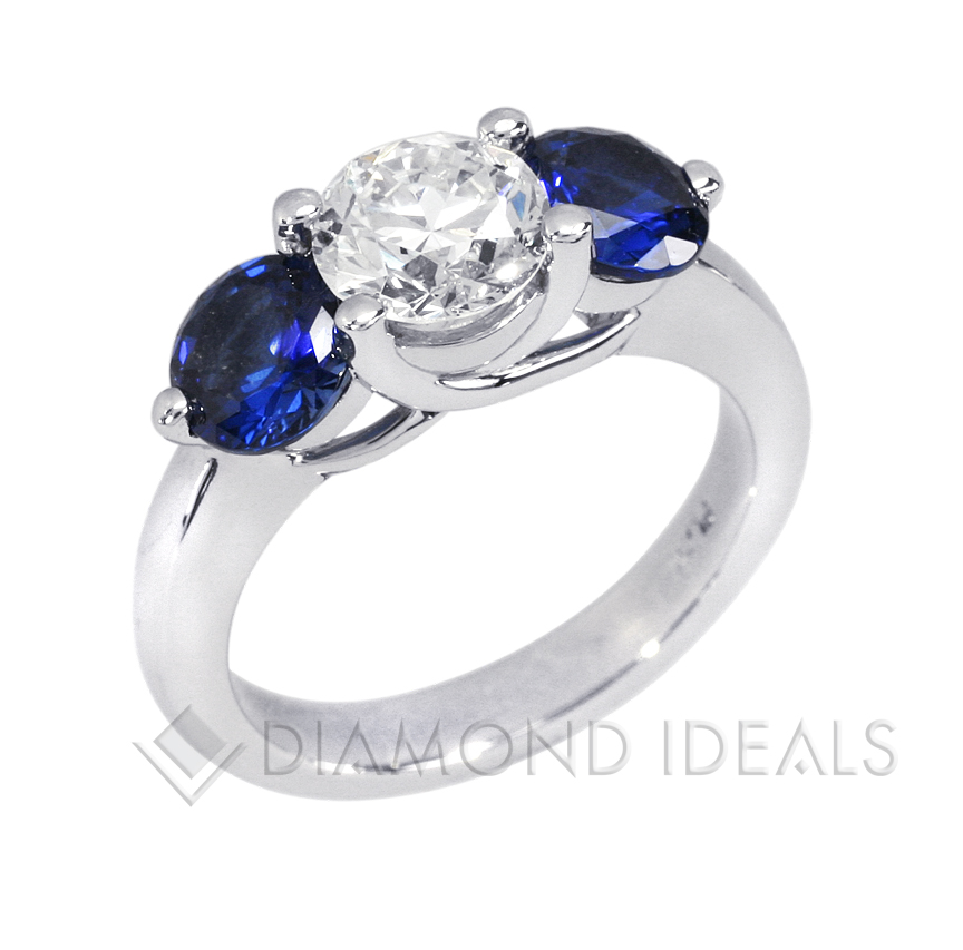befd3853fa80c diamond and sapphire engagement ring This is our 3-stone shared-prong  trellis ...