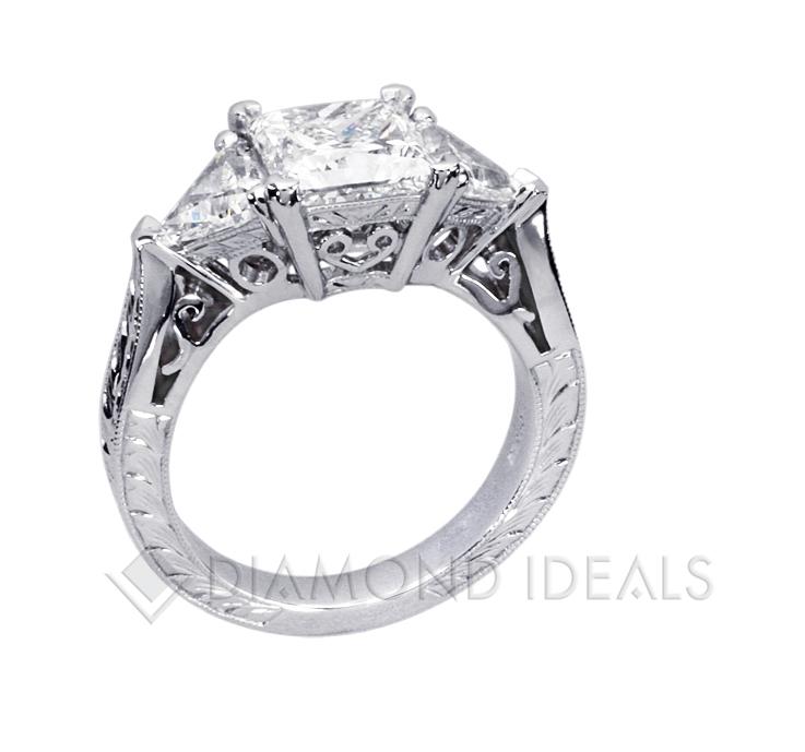 DiamondIdealscom Princess cut and Trillion Diamond Engagement Ring